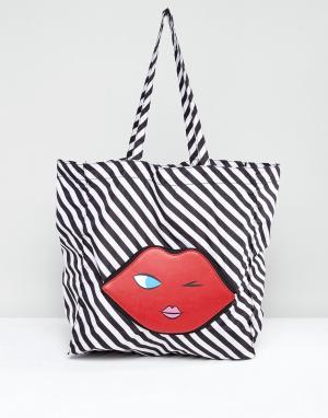 Lulu Guinness Складывающаяся сумка-шоппер в форме эмотикона. Цвет: красный
