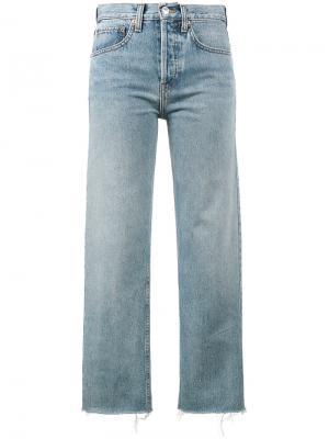 Укороченные джинсы Stove Pipe 27 Re/Done. Цвет: синий