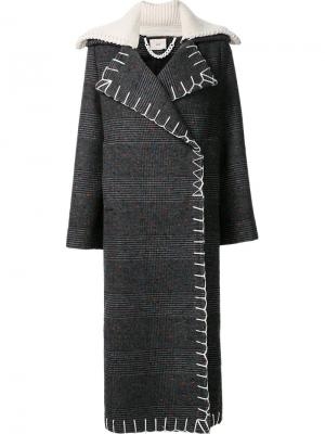 Nub check long coat Edun. Цвет: серый