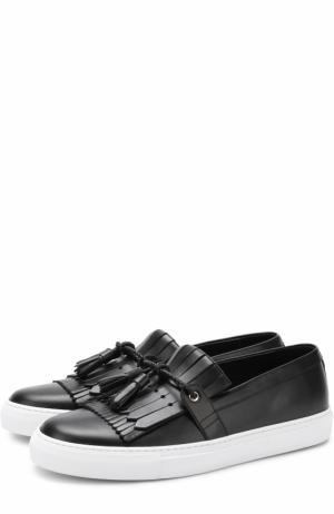 Кожаные слипоны London с бахромой и кисточками Dolce & Gabbana. Цвет: черный