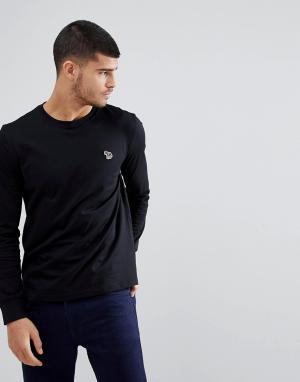 PS Paul Smith Черный лонгслив с логотипом-зеброй. Цвет: черный