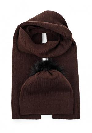 Комплект шапка и шарф Mascotte. Цвет: коричневый