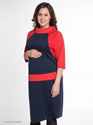 Платье для беременных ФЭСТ. Цвет: синий, красный