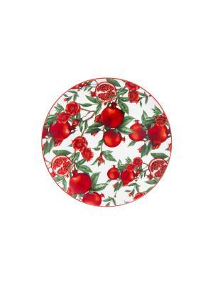 Тарелка Гранаты Elan Gallery. Цвет: красный, белый, зеленый