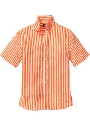Льняная рубашка Regular Fit с коротким рукавом (оранжевый/белый в полоску) bonprix. Цвет: оранжевый/белый в полоску