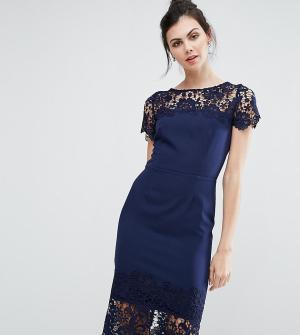 Paper Dolls Tall Платье-футляр миди с контрастной отделкой кружевом. Цвет: темно-синий