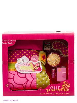 Надувной спальный мешок для куклы OG Dolls. Цвет: розовый, салатовый