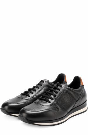 Кожаные кроссовки на шнуровке Ermenegildo Zegna. Цвет: черный