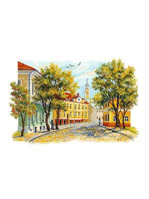 Рисунок на канве Уездный город Матренин Посад. Цвет: желтый