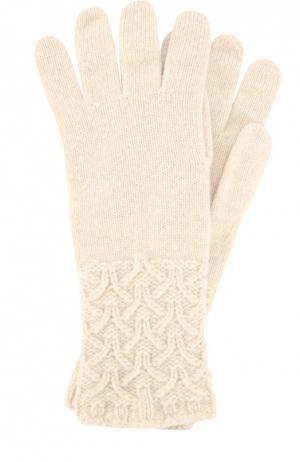 Перчатки из кашемира с фактурным узором Johnstons Of Elgin. Цвет: светло-бежевый
