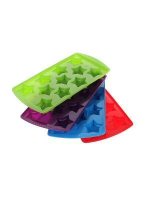Форма для льда - 4 шт. Migura. Цвет: салатовый, голубой, фиолетовый, красный