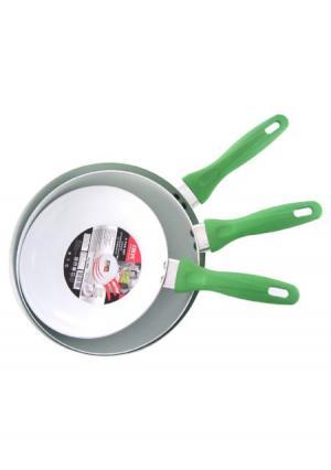 Набор сковородок с керамическим покрытием (3 шт.) CALVE. Цвет: зеленый (салатовый)