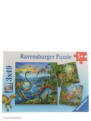 Пазл Динозавры  3х49шт Ravensburger. Цвет: зеленый
