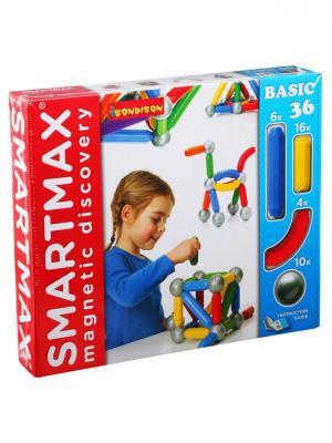 Магнитный конструктор SmartMax/ Bondibon Основной (Basic) набор 36 дет.,арт.401. Цвет: белый, красный, синий