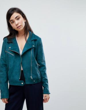 Soaked in Luxury Байкерская куртка из искусственной замши. Цвет: синий