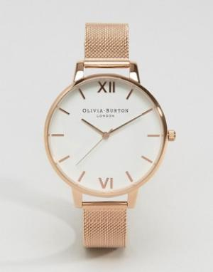 Olivia Burton Розово-золотистые часы с большим циферблатом. Цвет: золотой