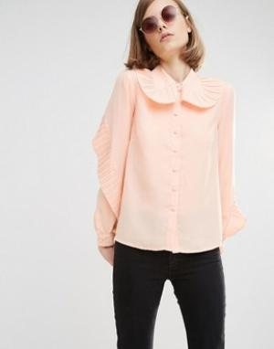Lost Ink Рубашка с большим плиссированным воротником. Цвет: бежевый