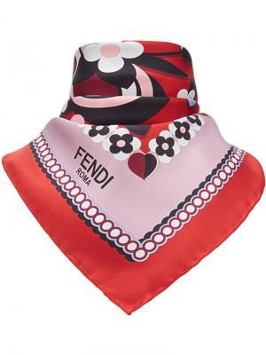 Платок с цветочным принтом логотипом Fendi. Цвет: многоцветный