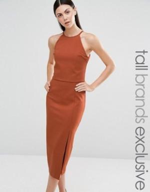Lavish Alice Tall Двухслойное платье‑футляр без рукавов. Цвет: рыжий