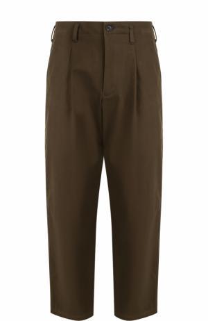 Хлопковые брюки свободного кроя с заниженной линией шага Yohji Yamamoto. Цвет: темно-зеленый