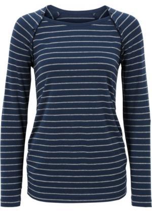 Мода для беременных/кормящих мам: футболка на кнопках (темно-синий/серый меланж в полоску) bonprix. Цвет: темно-синий/серый меланж в полоску