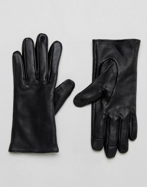 ASOS Кожаные перчатки. Цвет: черный