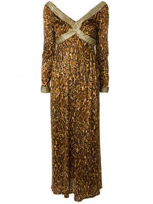 Платье макси с леопардовым узором Great Unknown. Цвет: коричневый