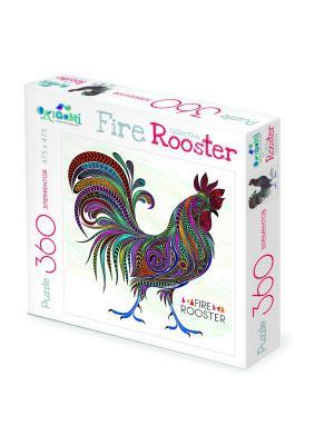 Пазл Символ Года. FireRooster Узорный петух. Origami. Цвет: красный, оранжевый, синий