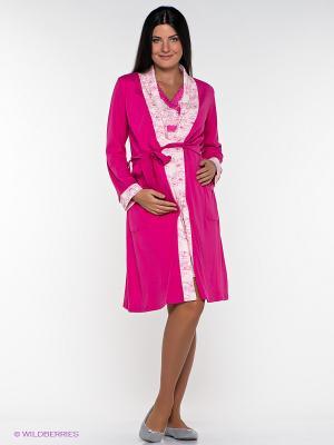 Комплект: халат+сорочка (сорочка с секретом для кормления) Nuova Vita. Цвет: фуксия, бледно-розовый