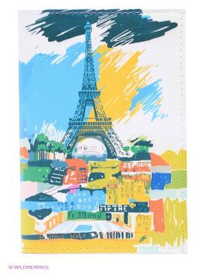 Обложка для автодокументов Париж в красках Mitya Veselkov. Цвет: белый, голубой, желтый