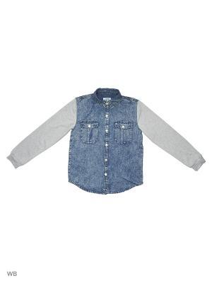 Рубашка S`Cool. Цвет: голубой, светло-серый