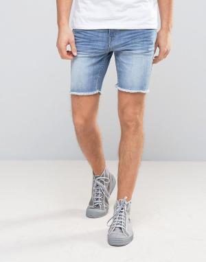 Casual Friday Джинсовые шорты с необработанными краями. Цвет: синий