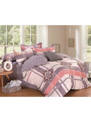 Комплект постельного белья ЕВРО 1st Home. Цвет: синий, розовый