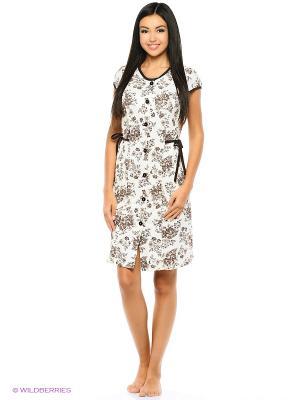 Комплект домашней одежды ( халат, ночная сорочка) HomeLike. Цвет: коричневый, молочный
