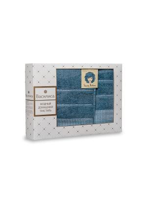 Комплект полотенец махровых гладкокрашеных с бордюром Sweety Barbara, 50х90см-1шт, 70*130см-1шт. Василиса. Цвет: лазурный