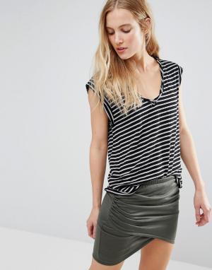 Pam & Gela Обтягивающая футболка в полоску Kate. Цвет: черный
