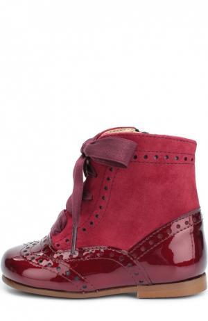 Комбинированные ботинки с перфорацией Clarys. Цвет: бордовый