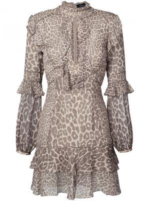 Платье мини с леопардовым принтом и оборками J. Mendel. Цвет: коричневый