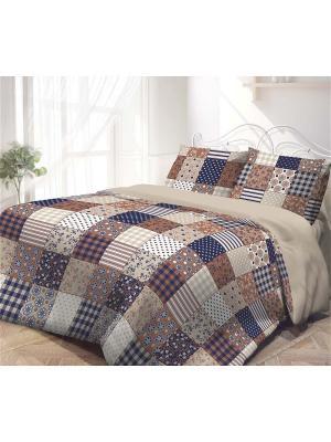 Комплект постельного белья 1,5-сп, ГАРМОНИЯ, поплин 50*70см, Печворк Волшебная ночь. Цвет: синий, серый, коричневый