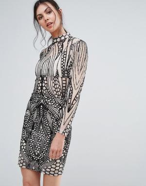 Girl In Mind Облегающее платье с высоким воротом. Цвет: мульти