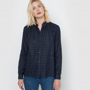 Рубашка в горошек La Redoute Collections. Цвет: темно-синий,узор экрю