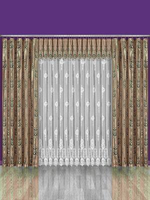 Комплект штор Wisan. Цвет: светло-коричневый, белый, черный
