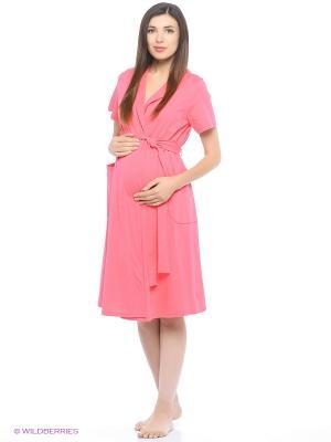 Комплект женский для беременных и кормящих (халат+сорочка) Hunny Mammy. Цвет: коралловый, оранжевый