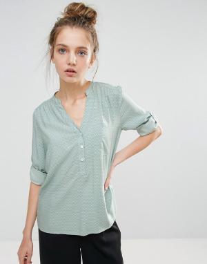 B.Young Рубашка без воротника с рукавами длиной 3/4. Цвет: зеленый