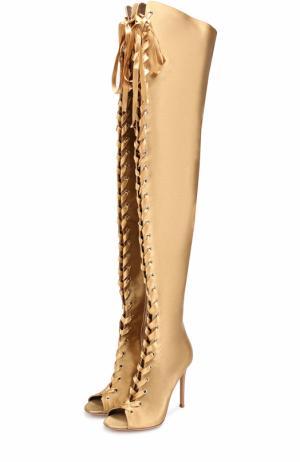 Атласные ботфорты Marie на шнуровке Gianvito Rossi. Цвет: золотой