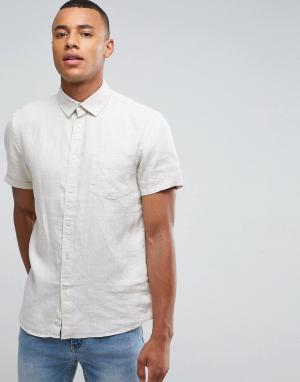 Celio Рубашка с короткими рукавами из 100% льна. Цвет: бежевый