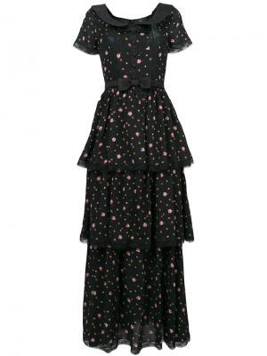 Многослойное платье с цветочным принтом Alessandra Rich. Цвет: чёрный