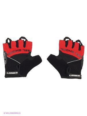 Велоперчатки 01-1044 Larsen. Цвет: черный, красный