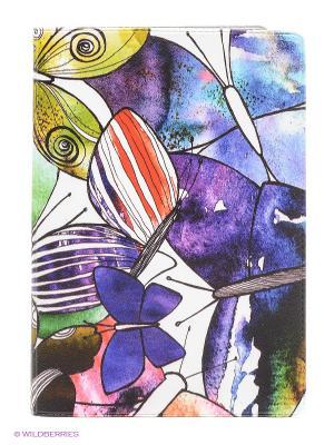 Обложка для паспорта Акварельные бабочки Mitya Veselkov. Цвет: фиолетовый
