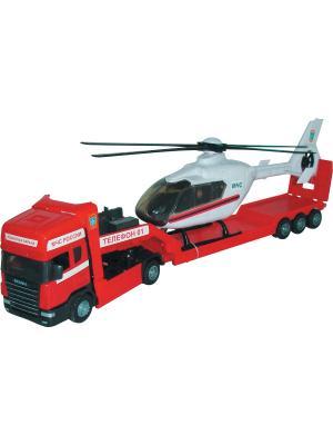 Машина Scania transport пожарная с вертолетом AUTOTIME. Цвет: красный, белый